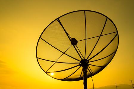 satellite dish on sunset