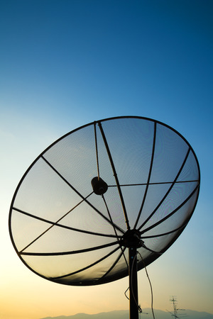 satellite dish on sunset blue sky, skies photo