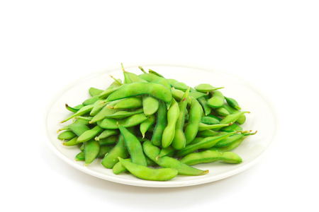 shuck: edamame nibbles, boiled green soy beans ,vegetarian food