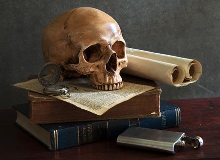still life art photography on human skull skeleton with book photo