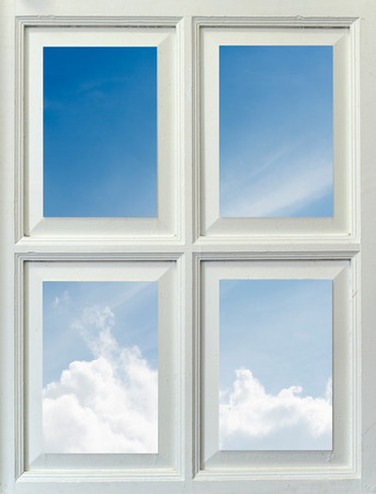 glass fence: Mirror white window reflecting blue sky with cloud