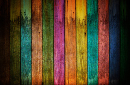 painted wood: vintage colorful wooden wall Stock Photo