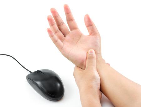 dolor muscular: dolor de mano de las mujeres de aislar rat�n en blanco Foto de archivo