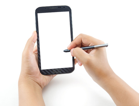 Hand holding and note on Black Smartphone with blank screen on white background photo