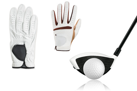 callection golf ball with golf driver,golf gloves isolate on white