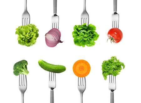 ミックス野菜のフォークの食事療法の概念のコレクション