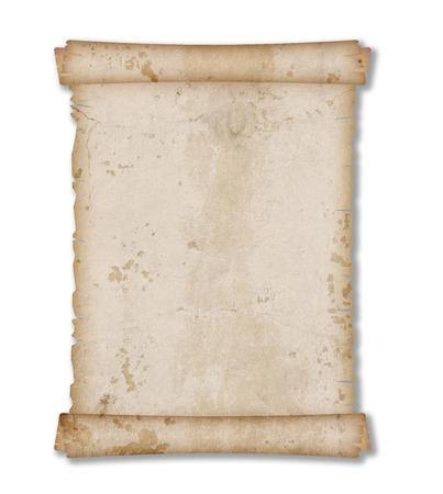 흰색 배경에 고립 된 오래 된 빈티지 그런 지 종이 스크롤 스톡 콘텐츠