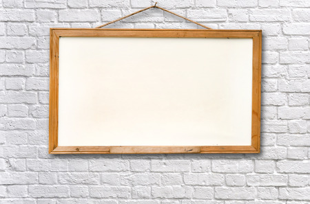 Empty white board on wall texture background photo