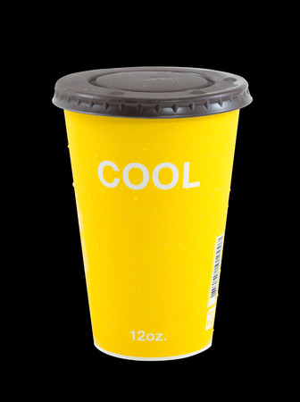 insulated drink container: cool coffee  yellow cup isolate on black, Refreshing drinks , Summer drinks
