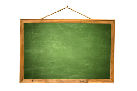 Empty green chalk board isolate white background Stock Photo