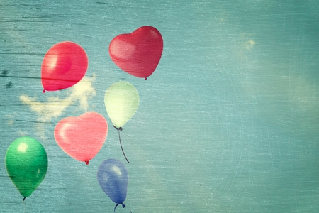 at ease: vintage heart balloon on blue sky concept of love in summer and valentine