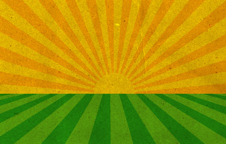 morning sunrise: Vintage Sunburst Pattern. Radial background made of yellow and green recycled paper Stock Photo