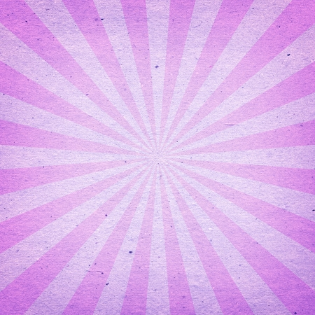 Vintage Sunburst Pattern. Radial background made of pink and purple recycled paper