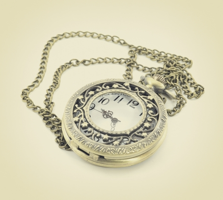 old antique pocket watch on white background Stock Photo