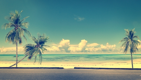 spaciousness: Vintage beach blue sky concept of love in summer and wedding honeymoon