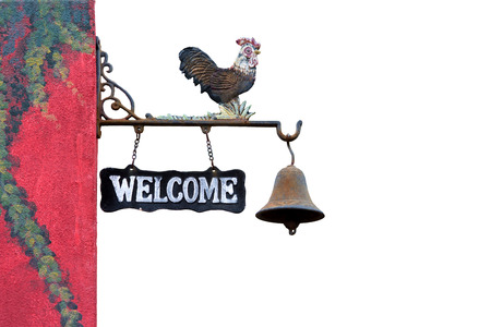 door bell: Classic Door Bell with silhouette  of  chicken vintage welcome label isolate on white