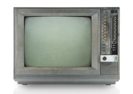 Vintage television isolate on white ,retro tecnology photo
