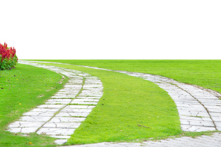 Garden stone path with grass growing up between the stones,isolate on empty background photo