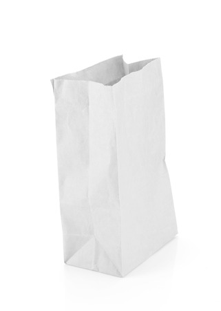 chipboard: Empty recycle white paper bag isolate background