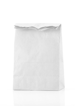 recycle white paper bag isolate background photo