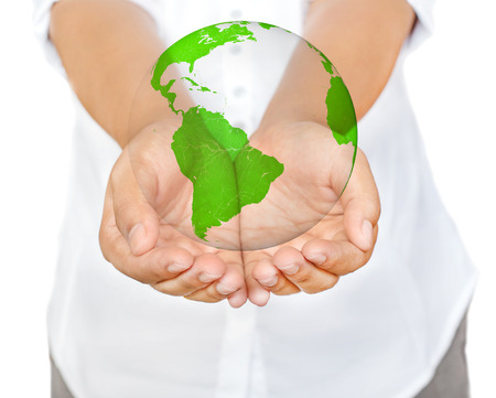hands holding globe: Business woman hands holding globe, Save the Earth Concept