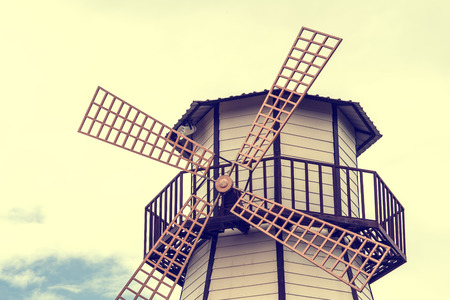 Detail of a Vintage turbine in the countryside  (vintage color toned image) photo