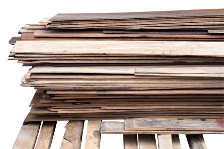 stack wood plank isolated on white photo