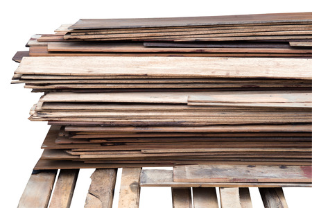 stack wood plank isolated on white Stock Photo