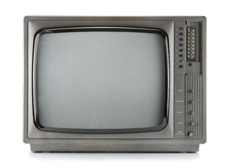 Vintage televisie isoleren op wit, retro tecnology Stockfoto