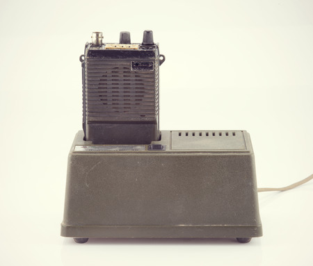 Vintage radio communication isolate on white ,retro tecnology