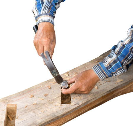 gouge: gouge wood chisel carpenter man tool hammer in hand working isolate on white background Stock Photo