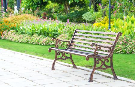 garden bench: sigle bwnch in flower garden
