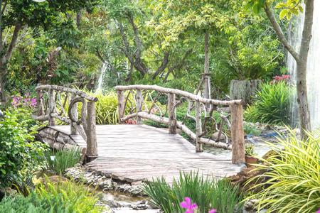 fort worth: wood bridge in nature garden