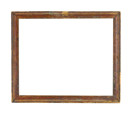 Wood frame isolated on white,old and ancient photo