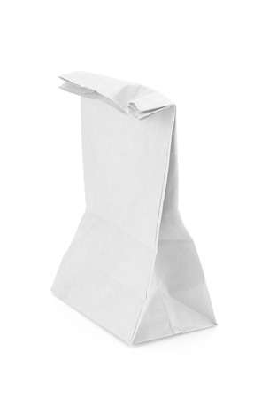 white paper bag: recycle white paper bag isolate background Stock Photo