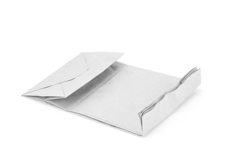 chipboard: recycle white paper bag isolate background Stock Photo