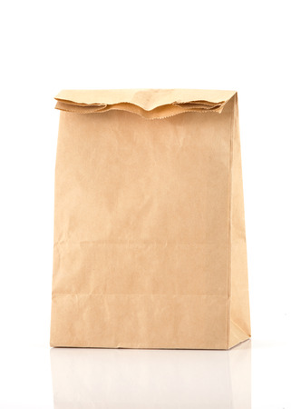 recycle brown paper bag isolate on white photo