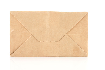 old envelope: recycle brown paper envelope isolated on white background
