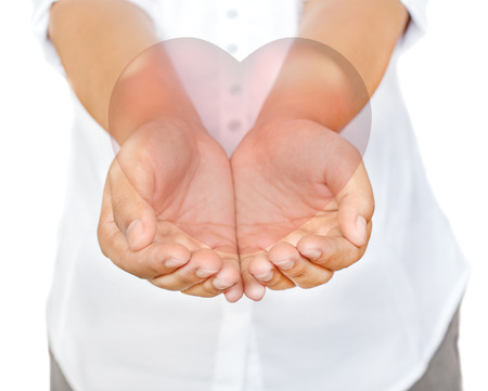 Business woman hands holding heart, isolate on white