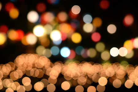 blurry lights: Lights blurred bokeh from christmas night party for your design, vintage or retro color tone Stock Photo