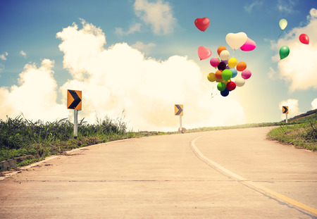 spaciousness: Vintage with heart balloon concept of love in summer and wedding honeymoon