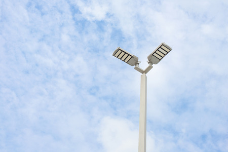 street lamps: LED street lamps with energy-saving technology, cloud on sky