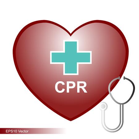 cpr: heart cpr medical vector format