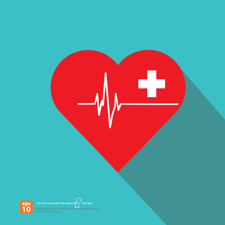 Heart shaped icon with first aid sign and pulse on vintage color background