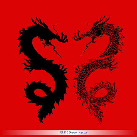 dragon year: silhouette dragon tattoo pattern vector format Illustration