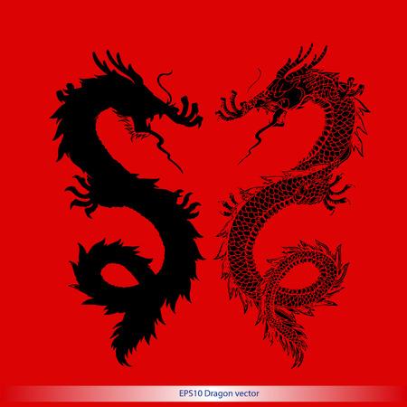 the dragons: silueta tatuaje del drag�n formato vector patr�n
