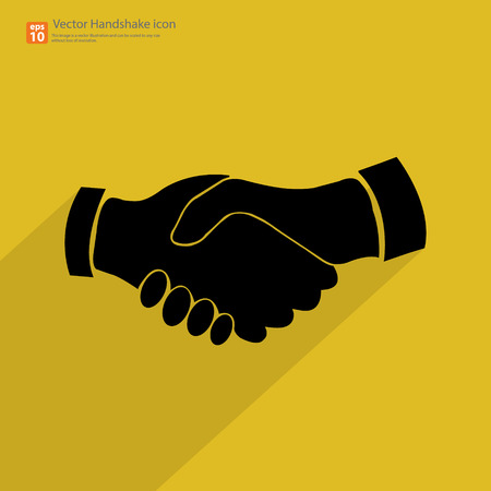 Black handshake icon with shadow on vintage yellow  background Vector