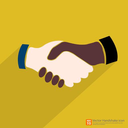 buen trato: Los negros americanos y de raza caucásica estadounidense Handshake icono con sombra sobre fondo amarillo