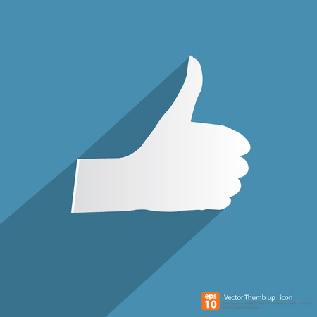 thumbs up icon: Woman Thumbs up icon with shadow on blue background, like & favorite concept