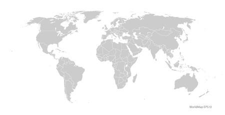 gray world map vector format  イラスト・ベクター素材